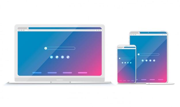 Conjunto de ventanas de navegador planas en blanco para diferentes dispositivos. vector. computadora, tableta, tamaños de teléfono.