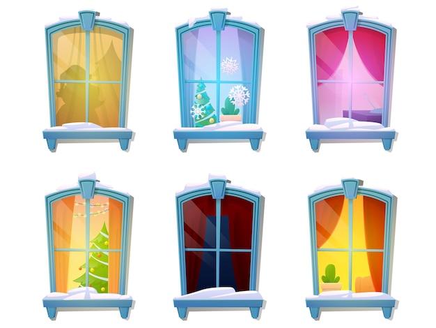Conjunto de ventanas nevadas de dibujos animados