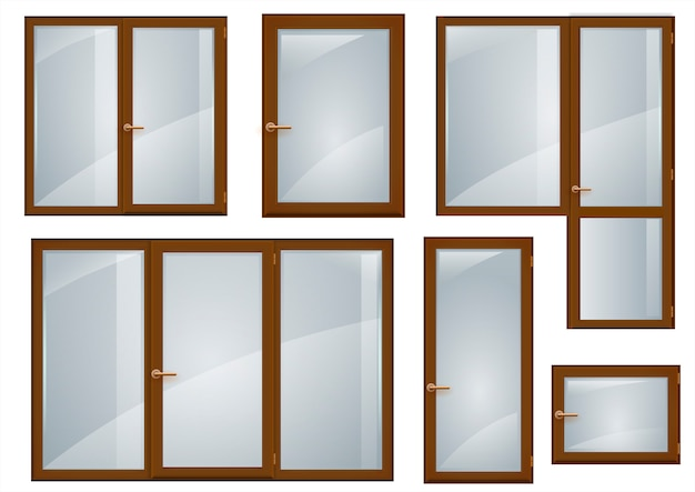 Conjunto de ventanas de plástico marrones