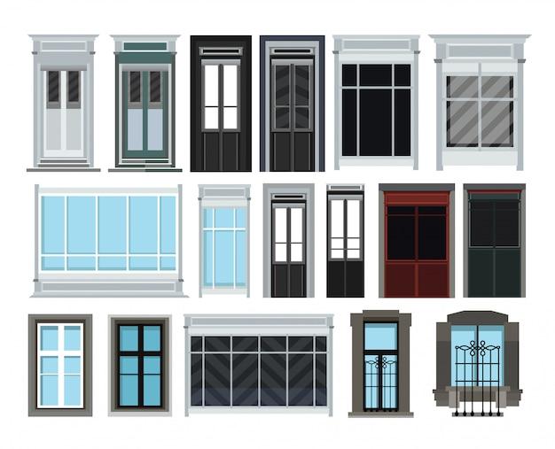 Conjunto de ventanas y puertas aislado en blanco