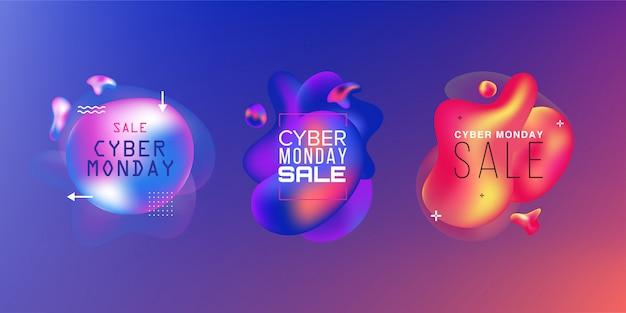 Conjunto de ventas. black friday, cyber monday y autumn sale. formas líquidas de colores. elementos gráficos modernos abstractos en la oscuridad. .