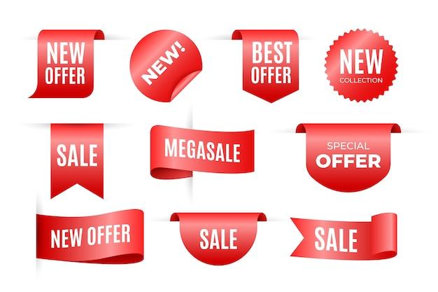 Conjunto de ventas de etiquetas en diferentes formas