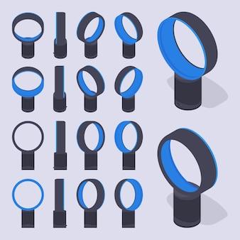 Conjunto de los ventiladores de aire sin cuchilla isométrica