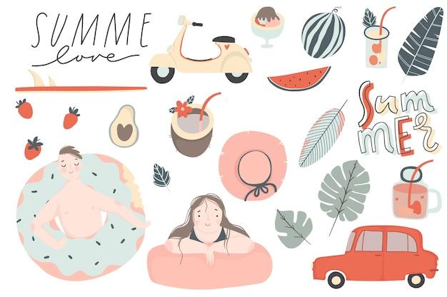 Conjunto de verano elementos dibujados a mano plantas tropicales frutas letras personas
