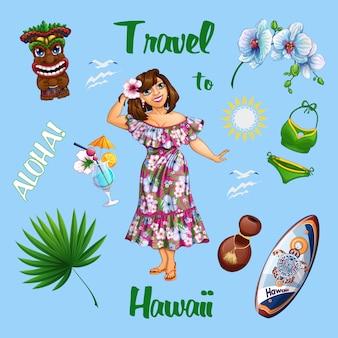Conjunto de verano hawaiano con una hermosa niña turista y souvenirs.