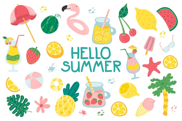 Conjunto de verano con lindos elementos de playa y letras, jugo de cóctel, helado, frutas, flores
