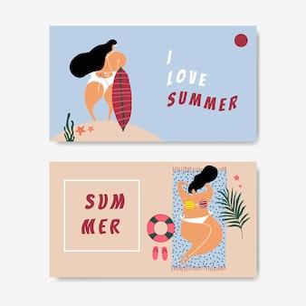 Conjunto de verano en la playa.