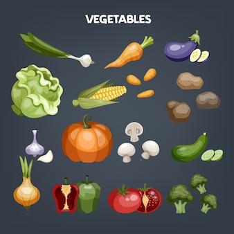 Conjunto de verduras. alimentos orgánicos frescos. brócoli y zanahoria