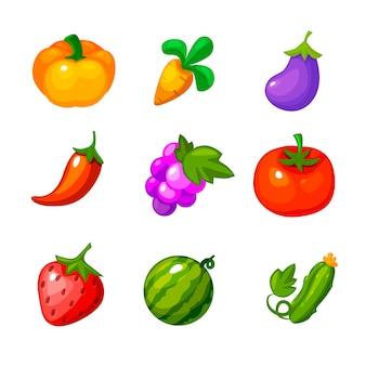 Conjunto de verduras y bayas para juegos de granja.