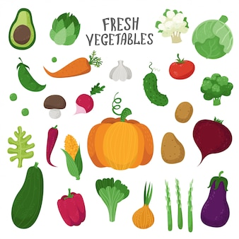 Conjunto de verduras en estilo de dibujos animados