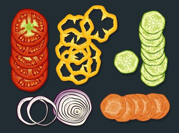 Conjunto de verduras frescas cortadas