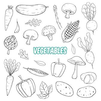 Conjunto de verduras frescas con garabato blanco y negro o estilo dibujado a mano