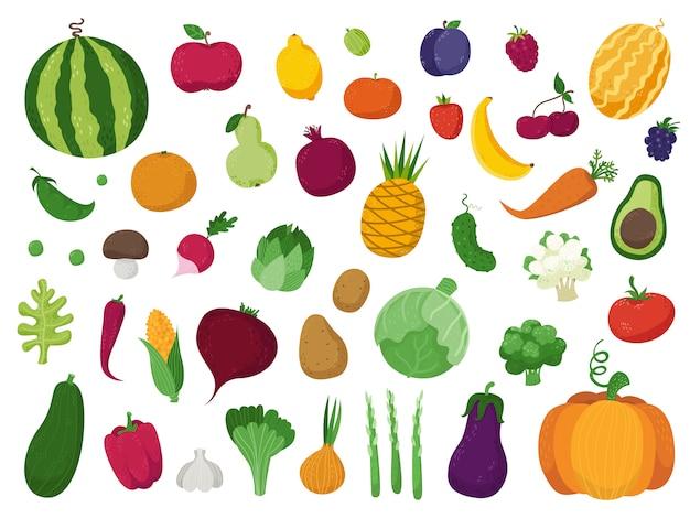 Conjunto de verduras, frutas y bayas.