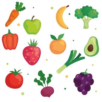 Conjunto de verduras y frutas, concepto de comida sana