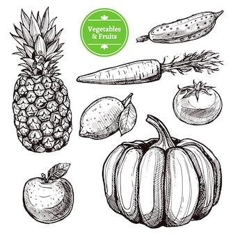 Conjunto de verduras y frutas