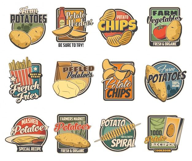 Conjunto de verduras de granja, productos alimenticios orgánicos de papa