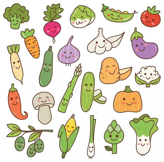 Conjunto de verduras kawaii
