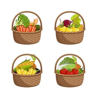 Conjunto de verduras orgánicas frescas en cesta de mimbre