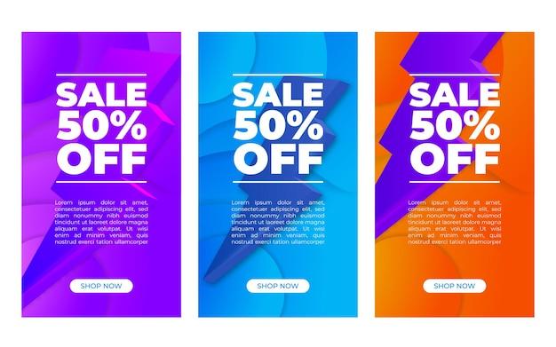 Conjunto vertical de banner de vector abstracto con porcentajes de venta