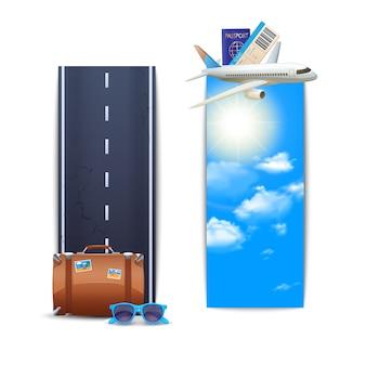 Conjunto vertical de banners de viaje.