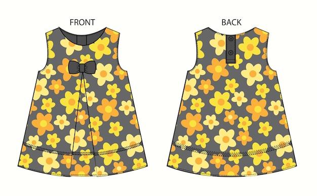 Conjunto de vestido de bebé con estampado de flores