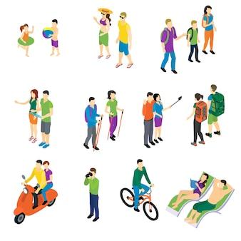 Conjunto de viaje isométrico de personas