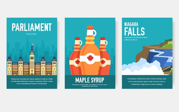 Conjunto de viaje de viaje de adorno de país de canadá. arte tradicional, revista, libro, pancartas, elemento.
