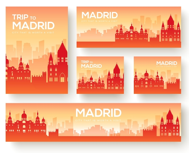 Conjunto de viaje de viaje de adorno de país de paisaje de madrid.