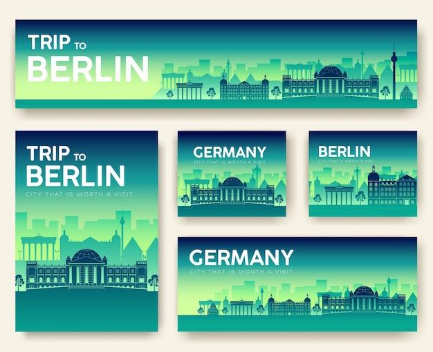 Conjunto de viaje de viaje de ornamento de país de paisaje de alemania