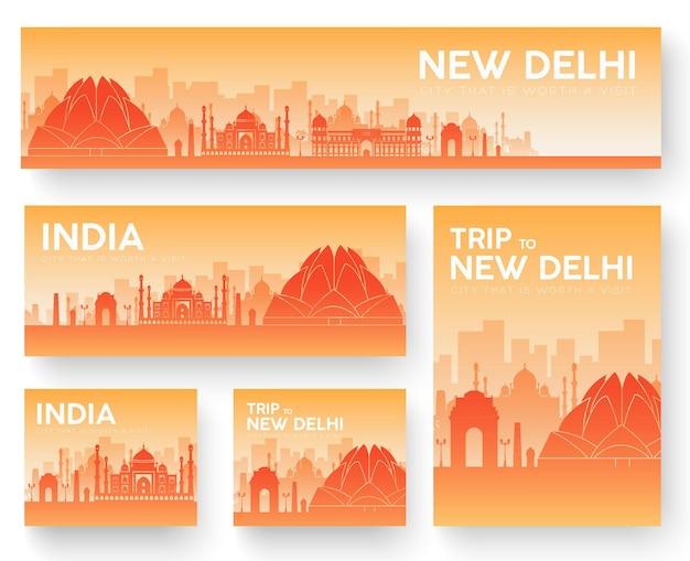 Conjunto de viaje de viaje de ornamento de país de paisaje de india. cultura tradicional, cartel, abstracto, elemento.
