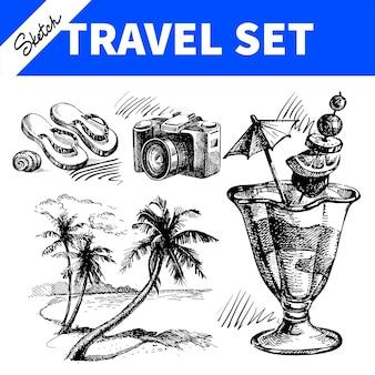 Conjunto de viajes y vacaciones. ilustraciones de croquis dibujado a mano