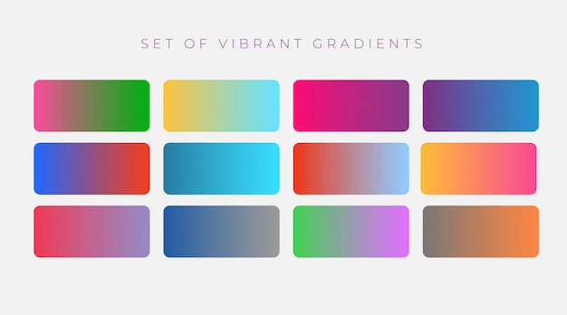 Conjunto vibrante de coloridos degradados