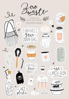 Conjunto de vida cero residuos. tarro y cubiertos de vidrio, bolsa de supermercado ecológica, cepillo de dientes, cosmética natural, copa menstrual, taza termo. . ilustración en blanco y negro dibujado a mano de moda en estilo escandinavo.