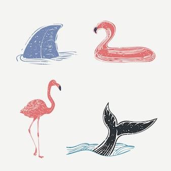 Conjunto de vida marina y flamencos.