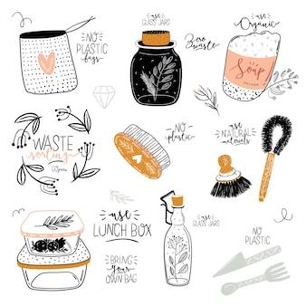Conjunto de vida útil cero. tarro de cristal y cubiertos, bolsa de supermercado ecológica, cepillo de dientes, cosmética natural, copa menstrual, taza termo. . ilustración en blanco y negro dibujado a mano de moda en estilo escandinavo.