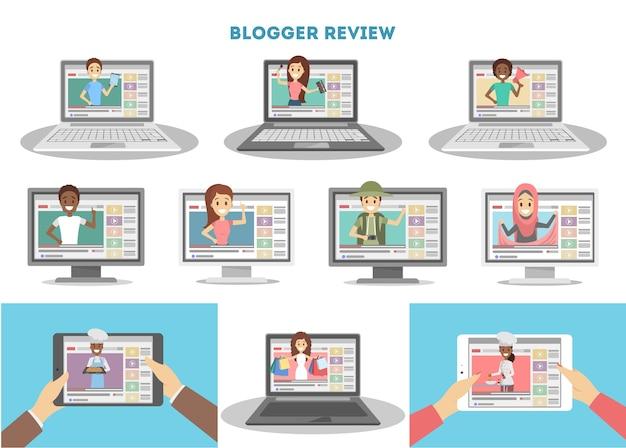 Conjunto de video bloggers.