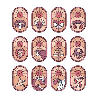 Conjunto de vidrieras con signos astrológicos.