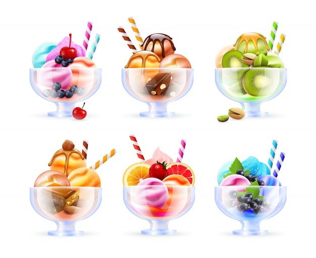 Conjunto de vidrio helado de sorbete