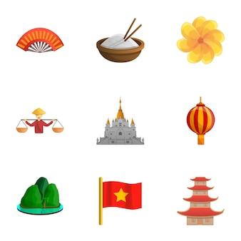 Conjunto de vietnam, estilo de dibujos animados