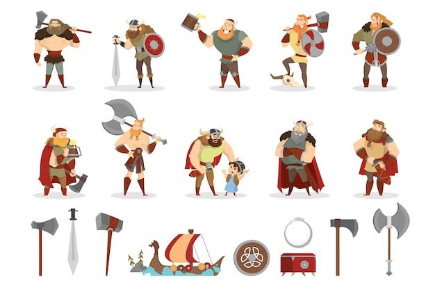 Conjunto vikingo. colección de guerrero con arma.