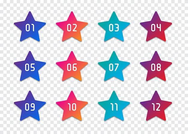 Conjunto de viñetas de números de estrellas del 1 al 12