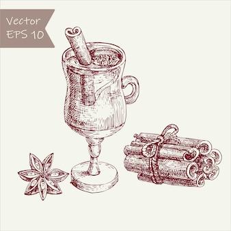 Conjunto de vino caliente. vidrio, ramas de canela, anís. estilo grabado vintage.