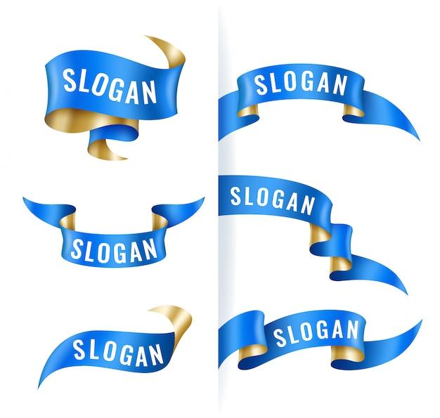 Conjunto vintage de cintas azules y doradas, plantilla de banner, elementos de diseño
