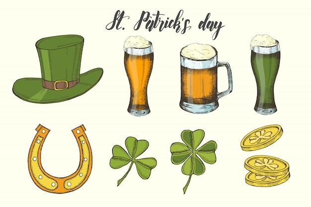 Conjunto vintage dibujado a mano para el día de san patricio. sombrero de san patricio, herradura, cerveza, trébol de cuatro hojas y monedas de oro. letras.
