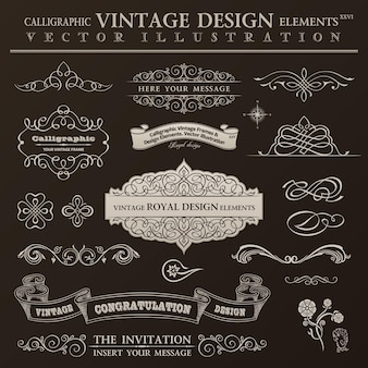 Conjunto vintage de elementos de diseño caligráfico
