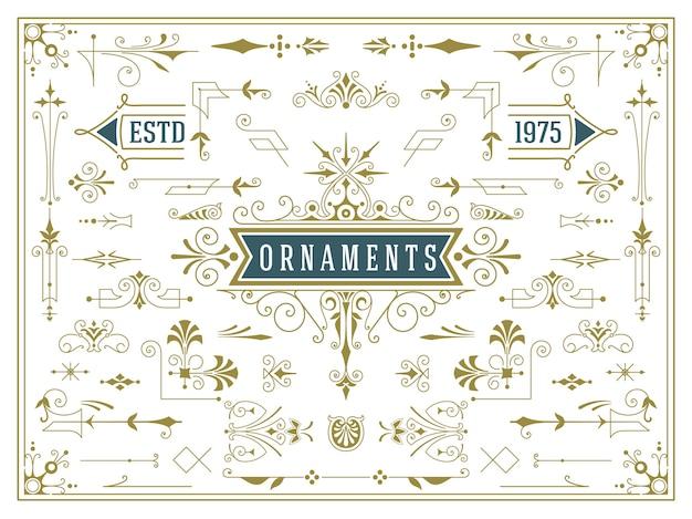 Conjunto vintage de elementos de diseño de remolinos y pergaminos