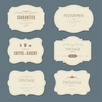 Conjunto de vintage etiqueta y banner de moda antigua.