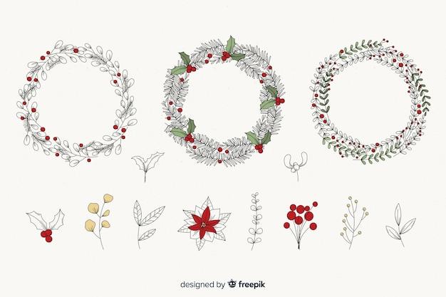 Conjunto vintage de flores y guirnaldas navideñas