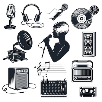 Conjunto vintage monocromo de elementos de karaoke