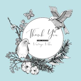 Conjunto vintage monocromo de tarjeta de felicitación floral de primavera, con pájaros, ramas de abeto, algodón, flores y mariposas